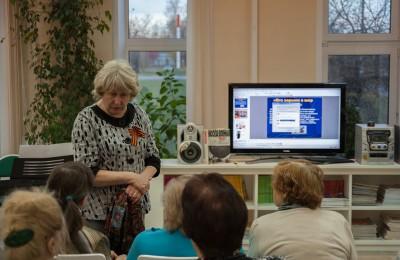 В.С. Карпова на мероприятии Библионочь в библиотеке им. Толстого