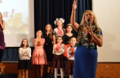 Наталья Михарева на праздновании Дня учителя в образовательном комплексе №1375