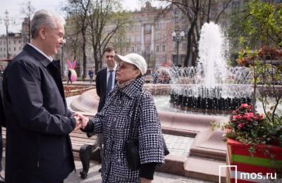 Мэр Москвы Сергей Собянин присутствовал при запуске фонтана на Пушкинской площади