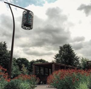 На фото цветение гелениумов в Рижском саду
