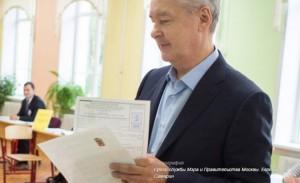 Собянин посетил избирательный участок в ЦАО Москвы