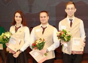 На фото (слева направо): Анна Кондратьева (3 место), Антон Абрамов (1 место), Андрей Шахов (2 место)
