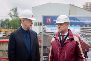 Сергей Собянин во время осмотра строящегося участка «Рубцовская» — «Авиамоторная» ТПК