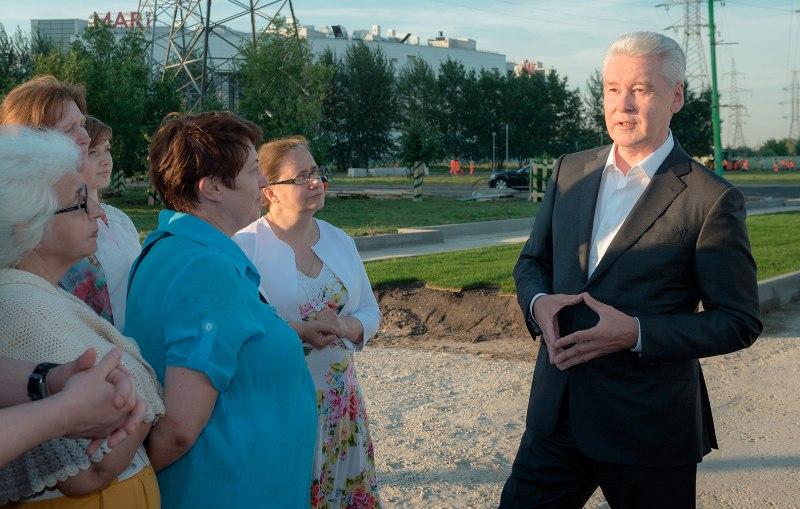 Мэр Москвы Сергей Собянин в ходе осмотра работ