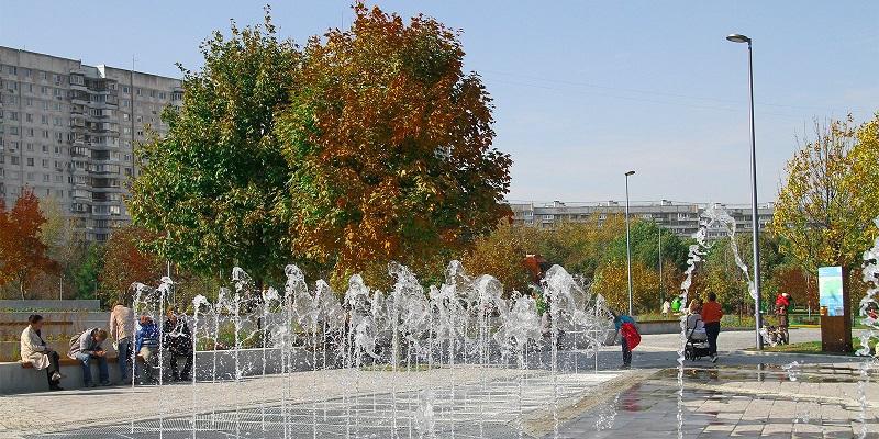Мосгорпарк, парк «Садовники», сухой фонтан, Фонтанная площадь